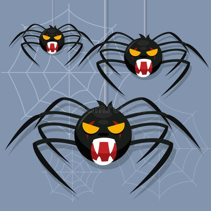 与蜘蛛网的可怕蜘蛛 蜘蛛字符 逗人喜爱的动画片 万圣节愉快的例证 向量例证