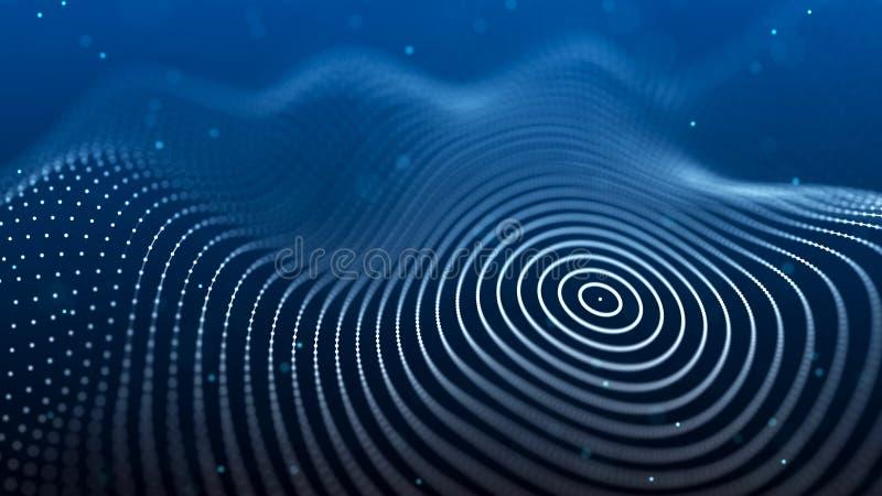 与蜘蛛网的抽象背景 微粒动态波浪  r 3d?? 皇族释放例证