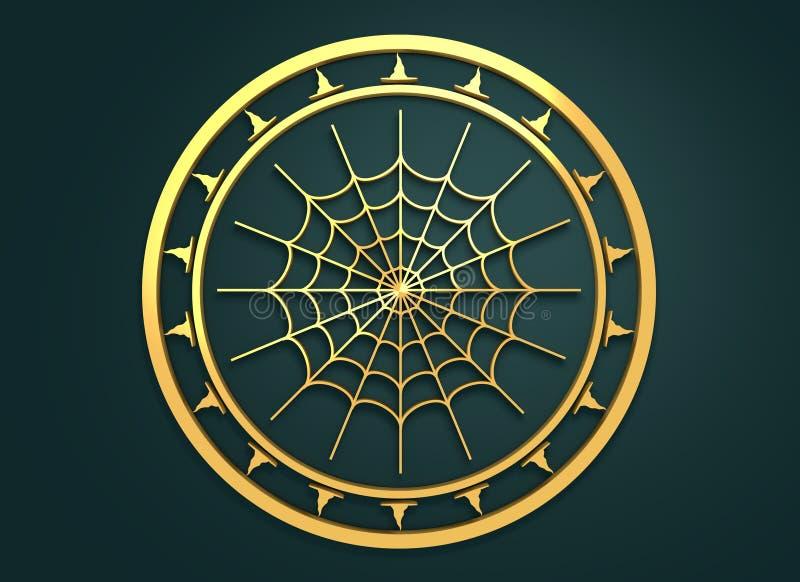 与蜘蛛网的被刻记的邮票 库存例证