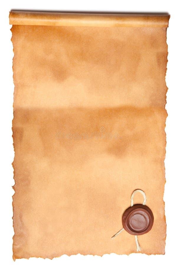与蜡密封的老纸张 免版税库存图片