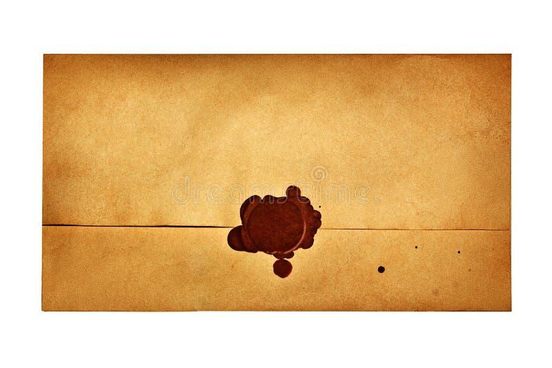 与蜡封印的信封 免版税库存照片