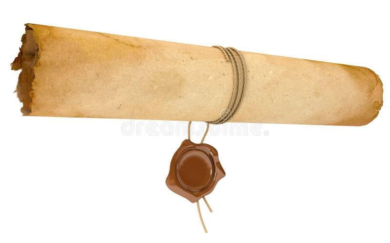 与蜡封印的古老纸卷。老纸板料 皇族释放例证