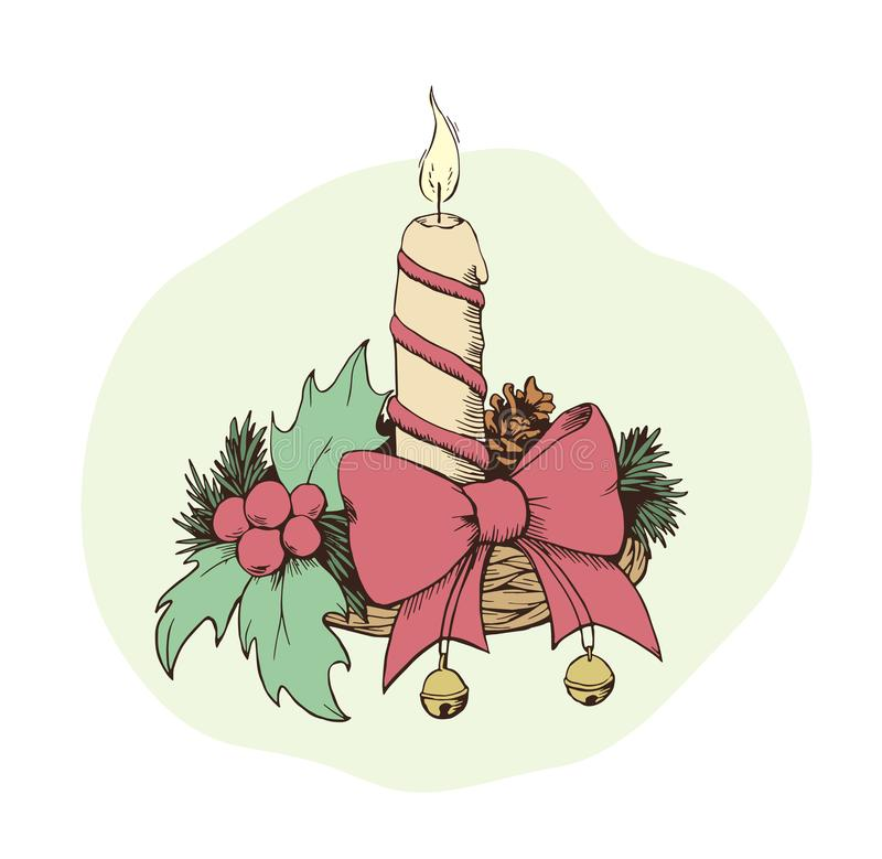 与蜡烛剪影的手拉的chrismas装饰 库存例证