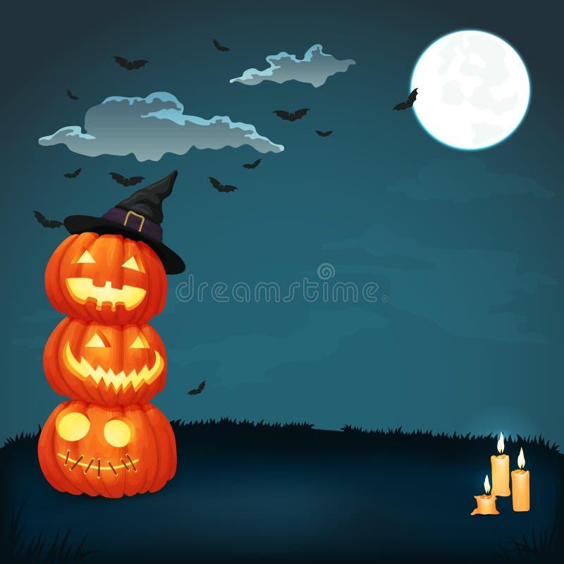 与蜡烛和发光的南瓜的万圣夜海报与巫婆帽子 皇族释放例证