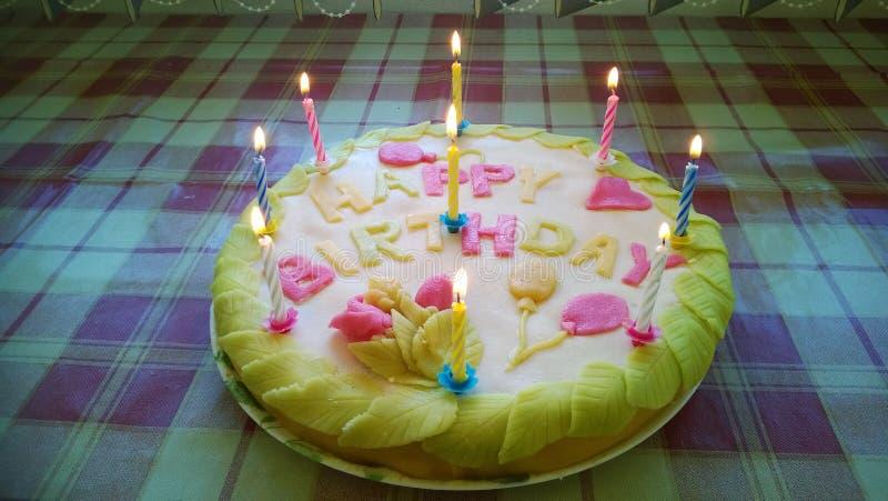 与蜡烛和叶子的生日蛋糕 免版税库存图片