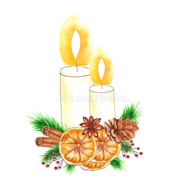 与蜡烛和圣诞节装饰的水彩传统装饰 皇族释放例证