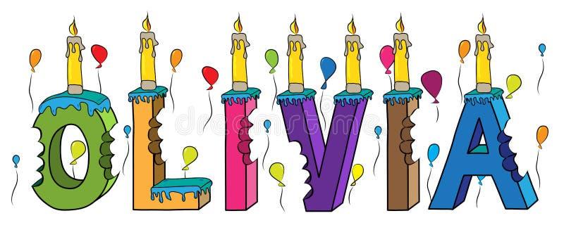 与蜡烛和气球的奥利维亚名字被咬住的五颜六色的3d字法生日蛋糕 库存例证