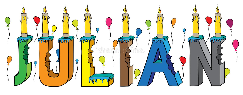与蜡烛和气球的朱利安男性名字被咬住的五颜六色的3d字法生日蛋糕 库存例证