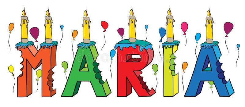 与蜡烛和气球的玛丽亚女性名字被咬住的五颜六色的3d字法生日蛋糕 向量例证