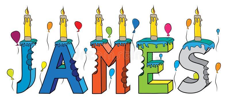 与蜡烛和气球的詹姆斯名字被咬住的五颜六色的3d字法生日蛋糕 皇族释放例证