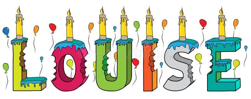 与蜡烛和气球的路易丝女性名字被咬住的五颜六色的3d字法生日蛋糕 皇族释放例证