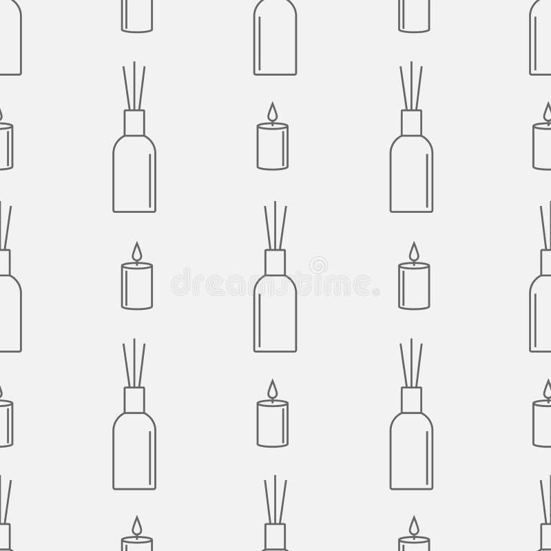 与蜡烛和芦苇分散器的芳香疗法无缝的样式 精油线象 也corel凹道例证向量 皇族释放例证