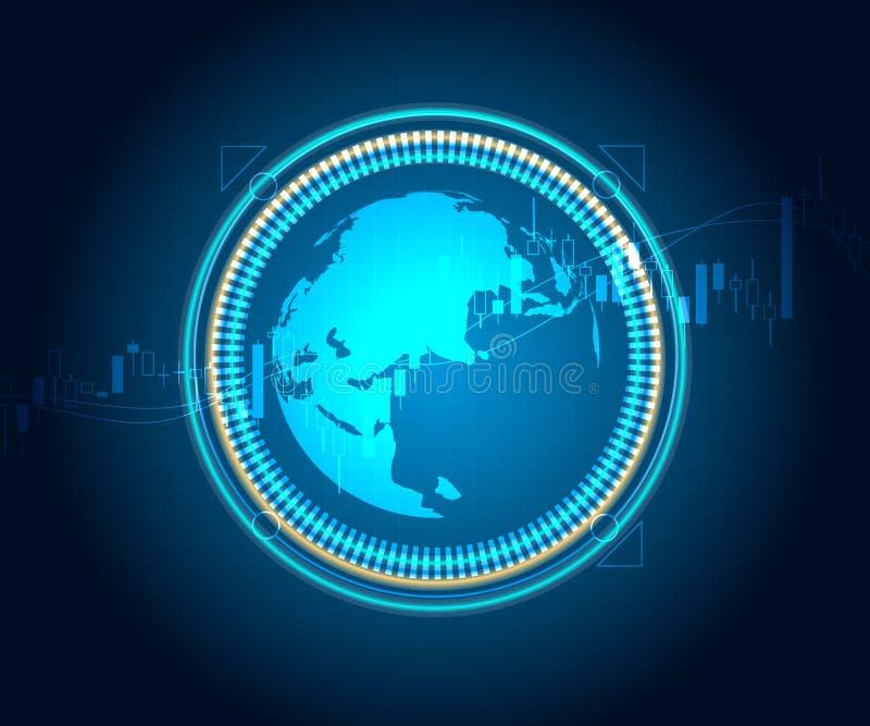 与蜡烛棍子股票和外汇图表的世界地图 向量例证