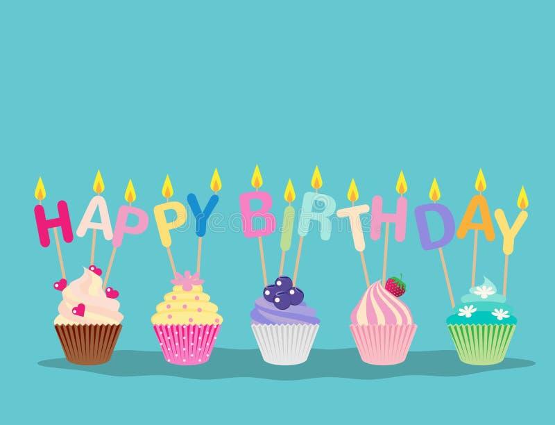 与蜡烛生日快乐庆祝的逗人喜爱的杯形蛋糕 库存例证