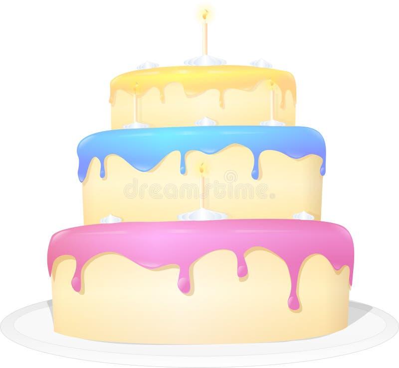 与蜡烛的五颜六色的蛋糕 库存照片