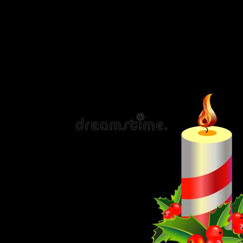 与蜡烛的圣诞卡在与长的阴影的平的样式 mer 库存例证