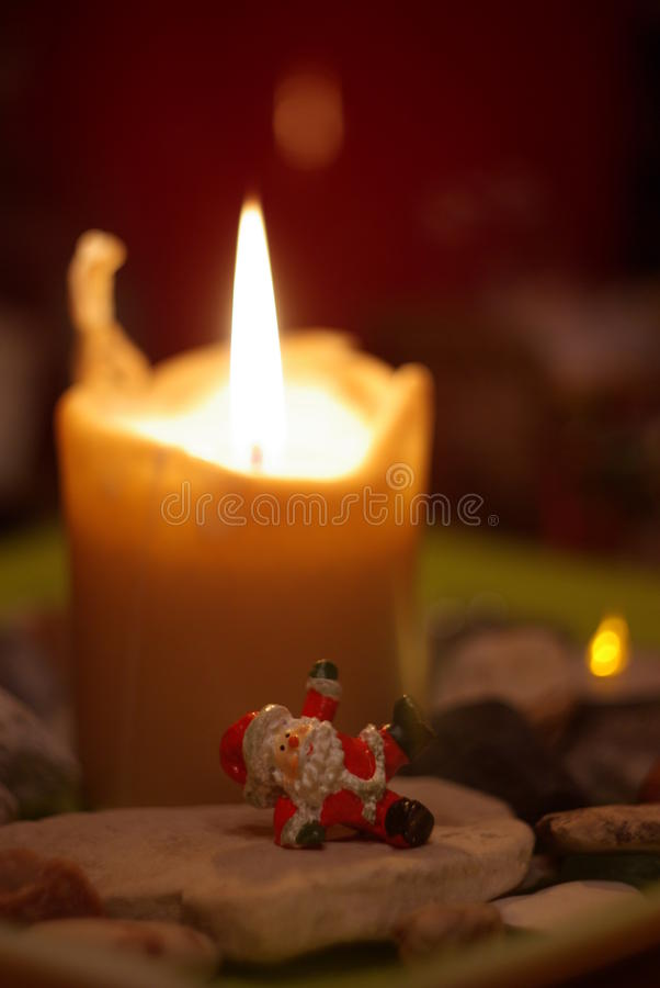 与蜡烛的圣诞节心情 免版税图库摄影