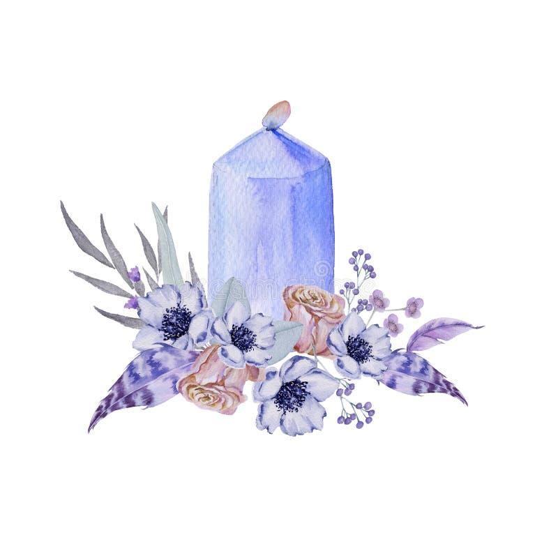 与蜡烛的婚礼花束 背景查出的白色 库存例证