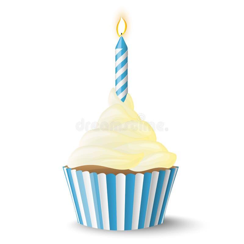 与蜡烛的杯形蛋糕 向量例证
