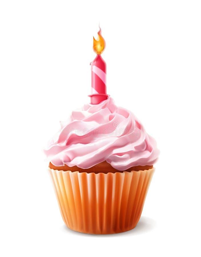 与蜡烛的欢乐杯形蛋糕, 向量例证