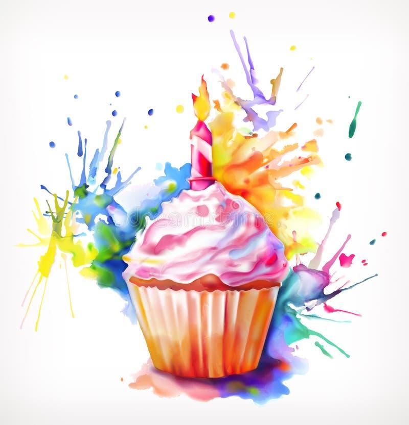 与蜡烛的欢乐杯形蛋糕 向量例证