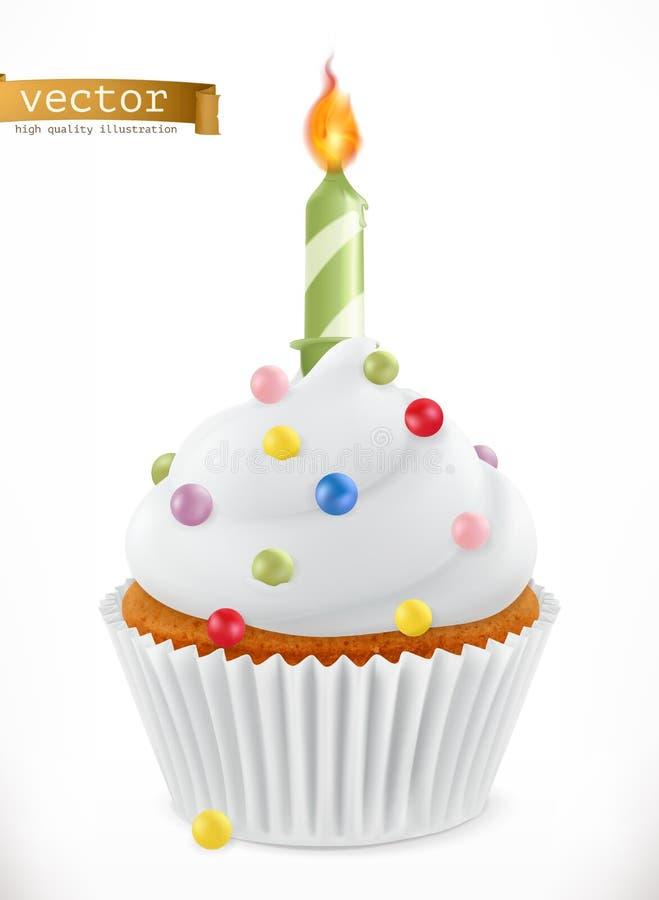 与蜡烛的欢乐杯形蛋糕 3d图标向量 向量例证