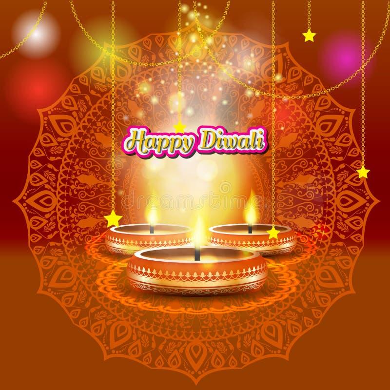 与蜡烛的现代典雅的diwali设计与金黄华丽 时髦屠妖节背景设计 也corel凹道例证向量 向量例证