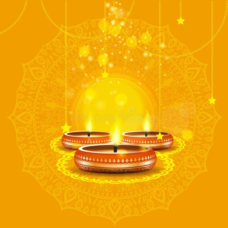 与蜡烛的现代典雅的diwali设计与金黄华丽 时髦屠妖节背景设计 也corel凹道例证向量 库存例证