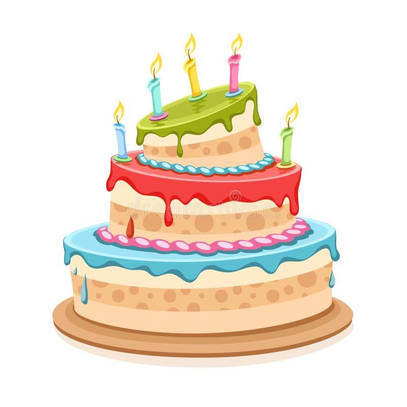 与蜡烛的甜生日蛋糕 向量例证