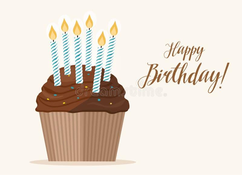 与蜡烛的生日杯形蛋糕在轻的背景 皇族释放例证