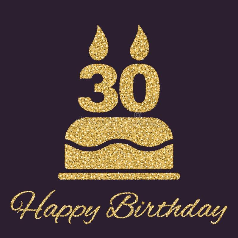 与蜡烛的生日蛋糕以第30象的形式 生日标志 金子闪闪发光和闪烁 向量例证