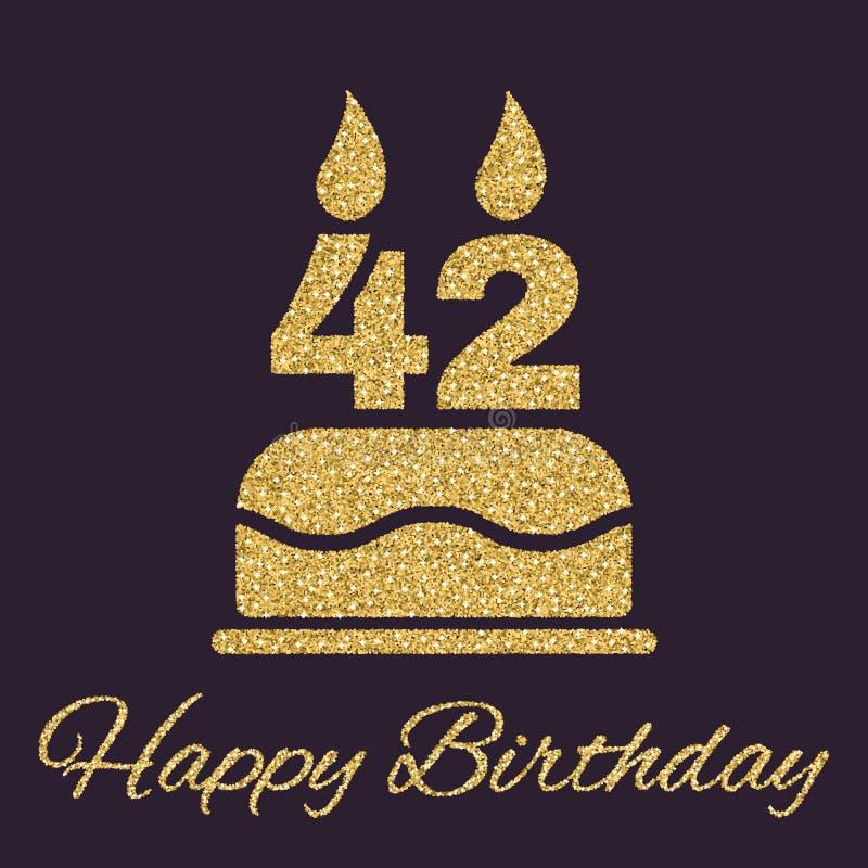 与蜡烛的生日蛋糕以第42象的形式 生日标志 金子闪闪发光和闪烁 皇族释放例证