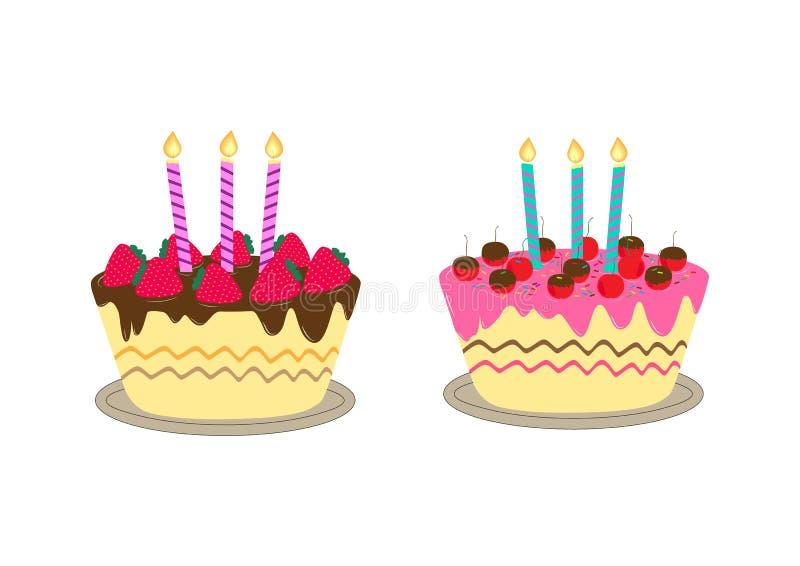 与蜡烛的生日蛋糕 库存例证
