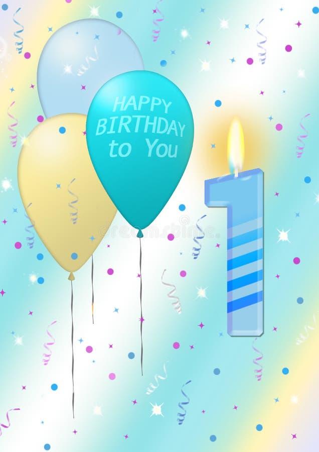与蜡烛的第一张生日海报 库存例证