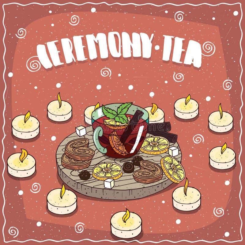 与蜡烛的茶在心脏形状 库存例证
