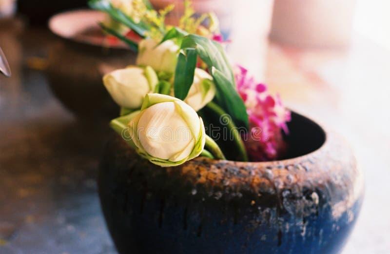 与蜡烛的莲花崇拜菩萨图象的 免版税库存照片