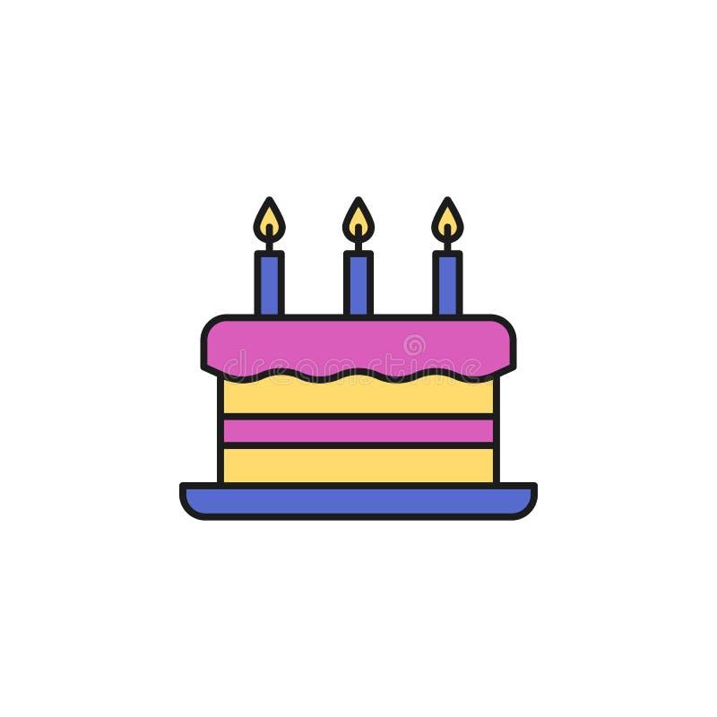 与蜡烛的蛋糕上色了象 流动概念和网apps的生日聚会象的元素 与蜡烛象的色的蛋糕能 库存例证