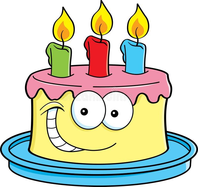 与蜡烛的蛋糕 向量例证