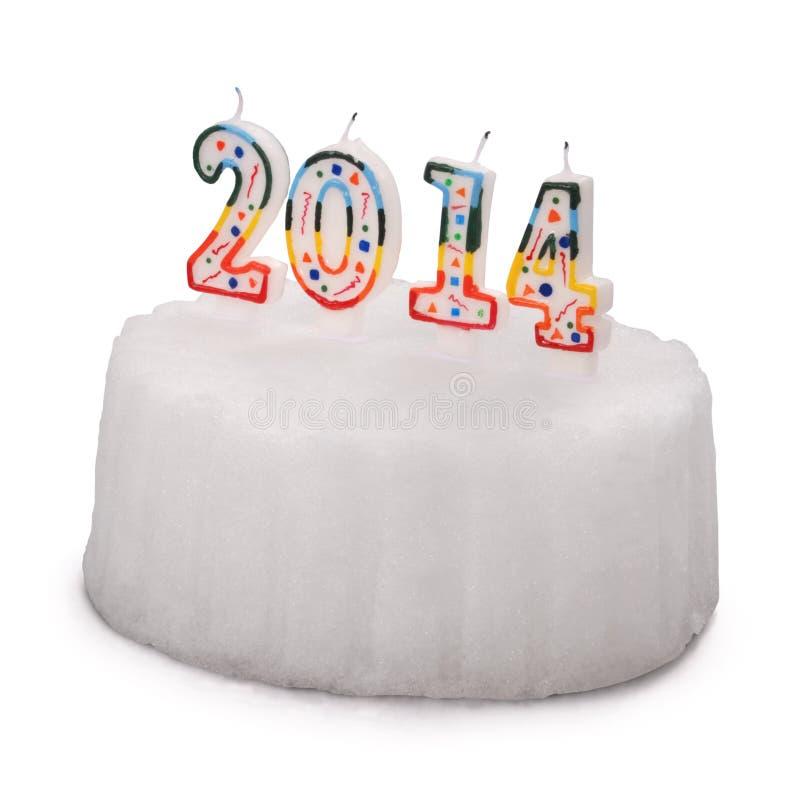 与蜡烛的雪白蛋糕。2015年.(裁减路线) 免版税库存照片