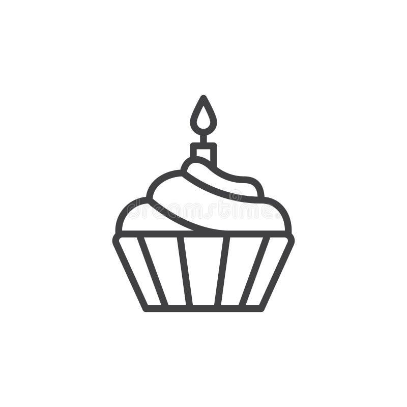 与蜡烛线象,概述传染媒介标志,在白色隔绝的线性样式图表的杯形蛋糕 皇族释放例证