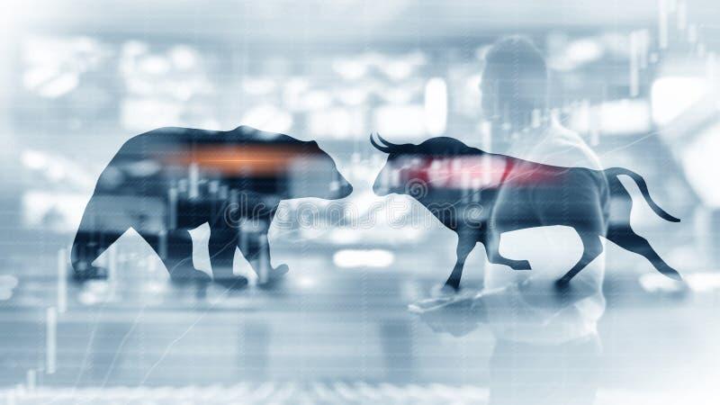 与蜡烛股票图表图的财政和企业摘要背景 牛市与熊市概念贸易商概念 库存照片