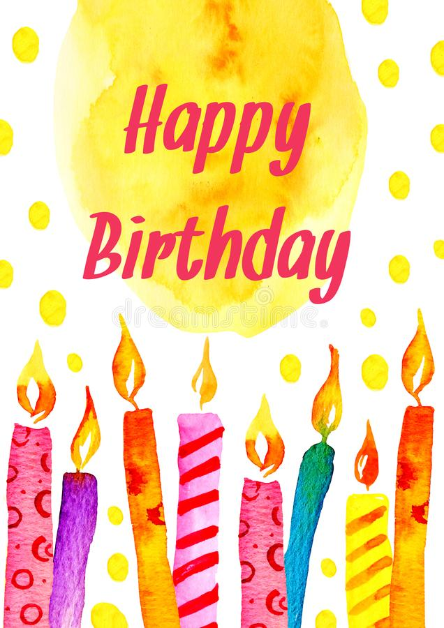 与蜡烛,五颜六色的斑点和祝愿的生日贺卡 手拉的动画片水彩剪影例证 库存例证