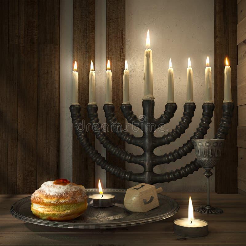 与蜡烛,油炸圈饼,抽陀螺的光明节背景 向量例证