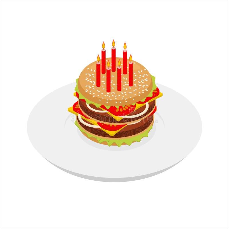 与蜡烛isometrics的生日汉堡包 欢乐快餐 库存例证