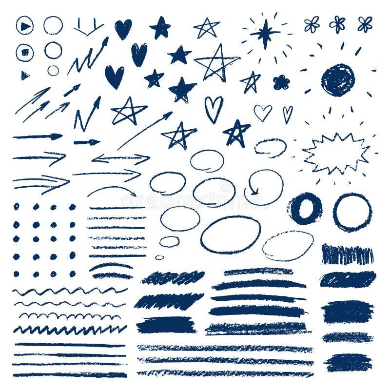 与蜡笔的乱画 套手拉的星,心脏,太阳,箭头 铅笔或柔和的淡色彩刷子冲程  库存例证