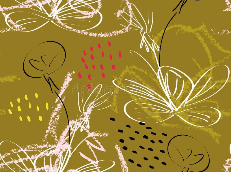与蜡笔的乱画构造粗砺的被画的蒲公英花和雀鳝. 杂文, 泼溅物.图片