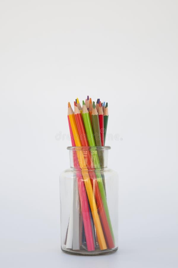 与蜡笔的静物画 库存照片