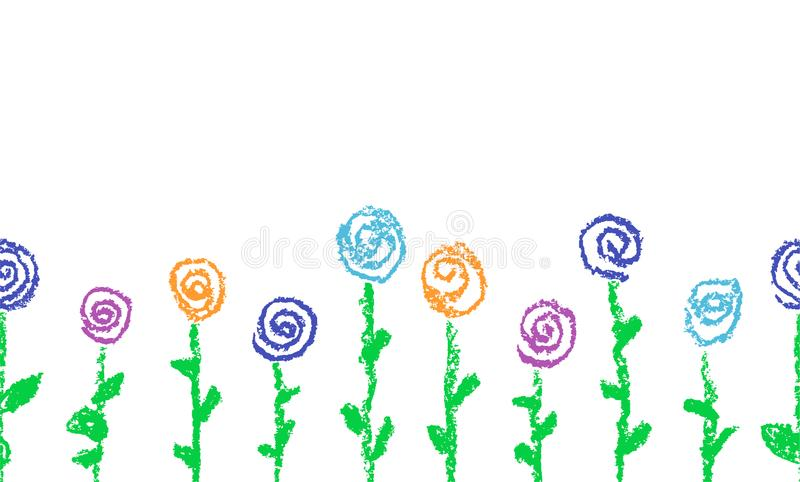 与蜡笔被画的五颜六色的花的无缝的边界 套儿童` s被画的淡色白垩开花的玫瑰 向量例证