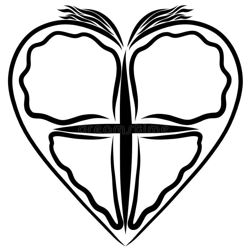 与蝴蝶、鸟,标志的十字架和翼的心脏  库存例证