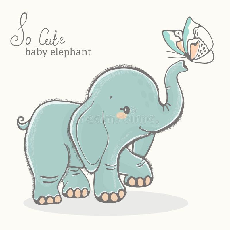与蝴蝶例证,逗人喜爱的动物图画的婴孩大象 向量例证